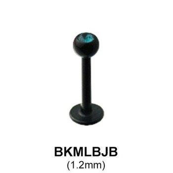 KOLCZYK DO BRODY WARGI LABRET 316L BLACK LINE OCZKO CRYSTAL kulka 2,5mm