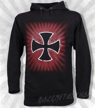 bluza BLACK ICON - MALTAN CROSS czarna z kapturem (BICON021)
