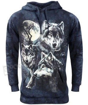 bluza THE MOUNTAIN - MOON WOLVES, kangurka z kapturem, barwiona