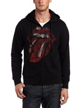 bluza THE ROLLING STONES - DISTRESSED TONGUE, rozpinana z kapturem
