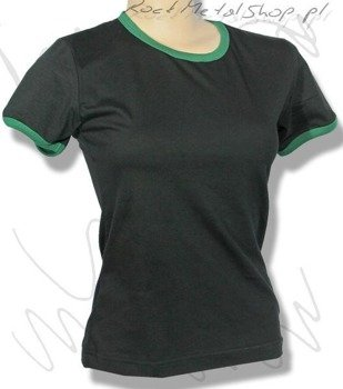 bluzka damska CZARNA zielony ściągacz