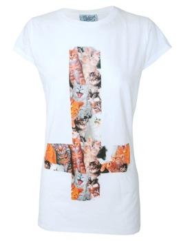 bluzka damska DARKSIDE - KITTY INVERTED CROSS biała