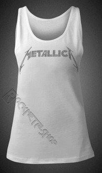 bluzka damska METALLICA - CLASSIC LOGO WHITE, na ramiączkach cyrkonie