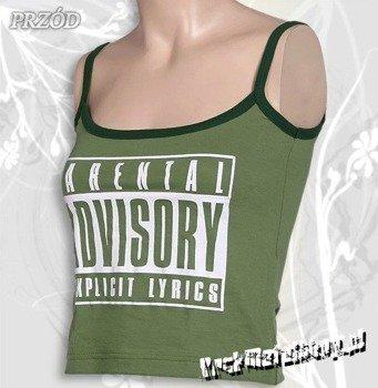 bluzka damska PARENTAL ADVISORY zielona, na ramiączkach
