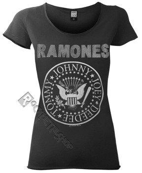 bluzka damska RAMONES - LOGO DIAMANTE ciemnoszara, cekiny
