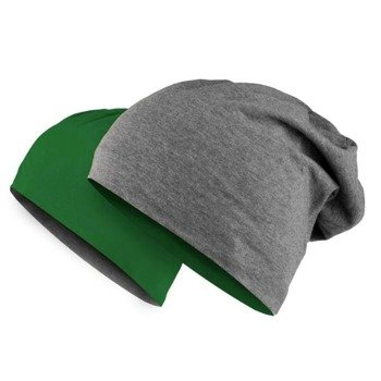 czapka dwustronna MASTERDIS - JERSEY BEANIE REVERSIBLE  ht.charcoal/kelly