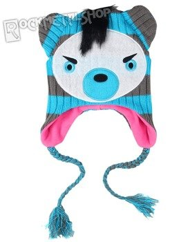 czapka zimowa FREAKS AND FRIENDS - BLUE/GREY STRIPED BEAR