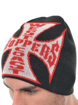 czapka zimowa WEST COAST CHOPPERS - JJ REVERSABLE RED/BLACK, obustronna