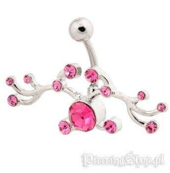 kolczyk do pępka ORNAMENT różowe kryształki [BST679]