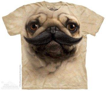 koszulka THE MOUNTAIN - BIG FACE PUG STACHE, barwiona