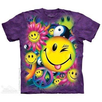 koszulka THE MOUNTAIN - PEACE HAPPINESS, barwiona