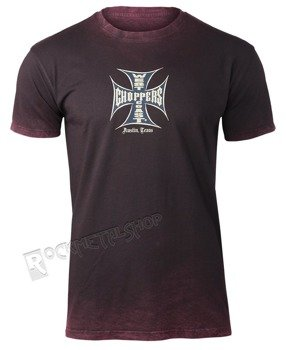 koszulka WEST COAST CHOPPERS - IRON CROSS, vintage bordeux