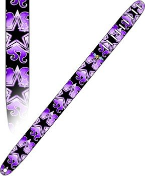 pas do gitary TATTOO JOHNNY - PURPLE STARS skórzany, 63mm