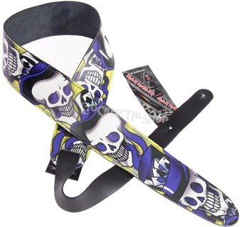 pas do gitary TATTOO JOHNNY - VOODOO SKULL skórzany, 63mm