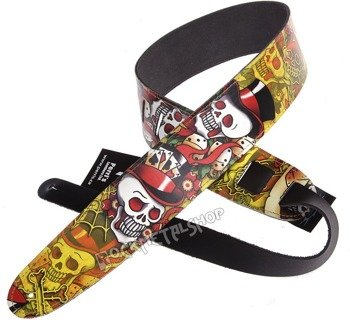 pas do gitary TATTOO JOHNNY - VOODOO SKULLS skórzany, 63mm
