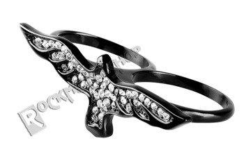pierścień BLACK CRISTAL BIRD