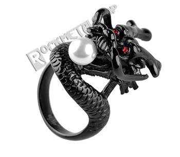 pierścień PEARL DRAGON black