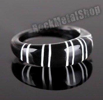 pierścień STRIPES czarny