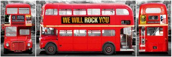 plakat panoramiczny LONDON - BUS TRIPTYCH