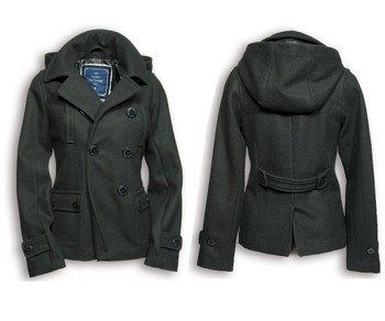 płaszcz marynarski damski LADIES PEA COAT - BLACK SURPLUS