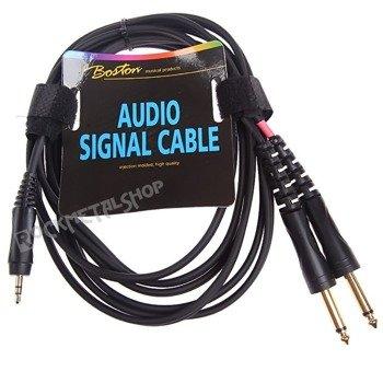 przewód audio BOSTON: 2 x DUŻY JACK MONO (6.3mm) - MAŁY JACK STEREO (3.5mm) / 1,5m