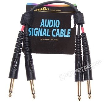 przewód audio BOSTON: 2x DUŻY JACK MONO (6.3mm) - 2x JACK MONO (6,3mm) / 0,3m