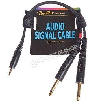 przewód audio BOSTON: 2x JACK MONO duży (6.3mm) - JACK STEREO mały (3.5mm) / 30cm