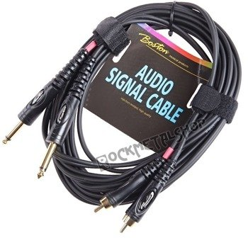 przewód audio BOSTON: 2x RCA (cinch) -  2x JACK MONO duży (6.3mm) / 6m