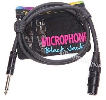 "przewód mikrofonowy BOSTON ""Black Jack"":  XLR -  DUŻY JACK mono (6.3mm) / 1m"