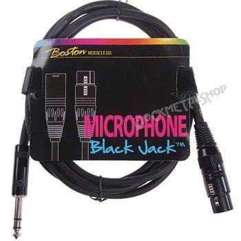 przewód mikrofonowy BOSTON: XLR -  DUŻY JACK STEREO (6.3mm) / 2m