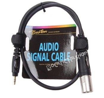 przewód mikrofonowy BOSTON: XLR - MAŁY JACK STEREO (3.5mm) / 0,75m