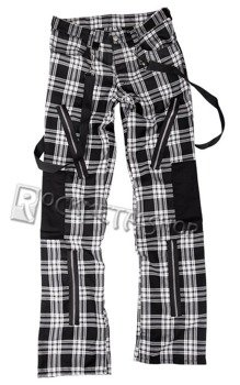 spodnie unisex PUNK PANTS TARTAN BLACK/WHITE