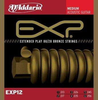 struny do gitary akustycznej D'ADDARIO BRONZE 80/20 MEDIUM EXP12 /013-056/