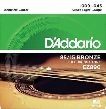 struny do gitary akustycznej D'ADDARIO EZ890 Super Light /009-045/