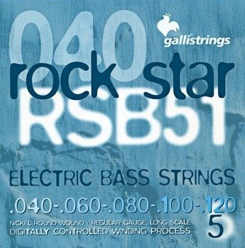 struny do gitary basowej 5str. GALLI STRINGS - ROCK STAR RSB51 NICKEL WOUND /040-120/