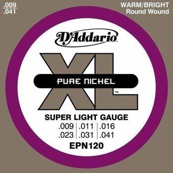 struny do gitary elektrycznej D'ADDARIO XL Pure Nickel EPN120 /009-041/