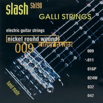 "struny do gitary elektrycznej GALLI STRINGS ""SLASH"" SH190 Nickel Wound /009-042/"