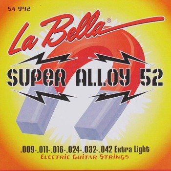 struny do gitary elektrycznej LA BELLA SA942 Super Alloy 52 / Extra Light /009-042/