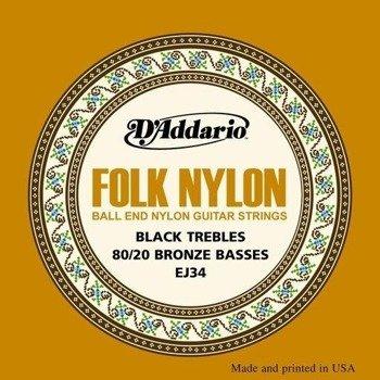 struny do gitary klasycznej D'ADDARIO - FOLK BLACK NYLON EJ34
