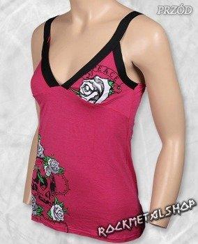 top damski SKULL & ROSES różowy