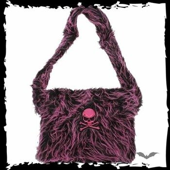torba PINK/BLACK FUR BAG WITH PURPLE SKULL