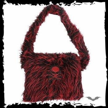 torba RED/BLACK FUR BAG WITH PURPLE SKULL
