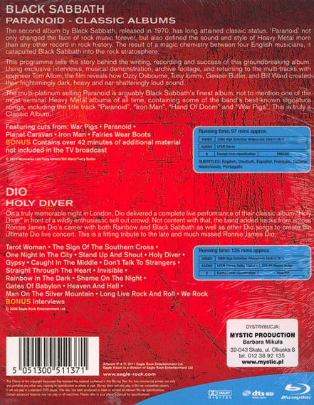 BLACK SABBATH / DIO: PARANOID / HOLY DIVER (2BLU-RAY)