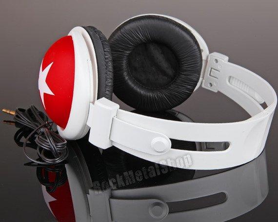 Słuchawki HEADPHONE STAR WHITE/RED