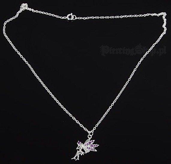 Srebrny łańcuszek WRÓŻKA oczko różowe [SPE-48]