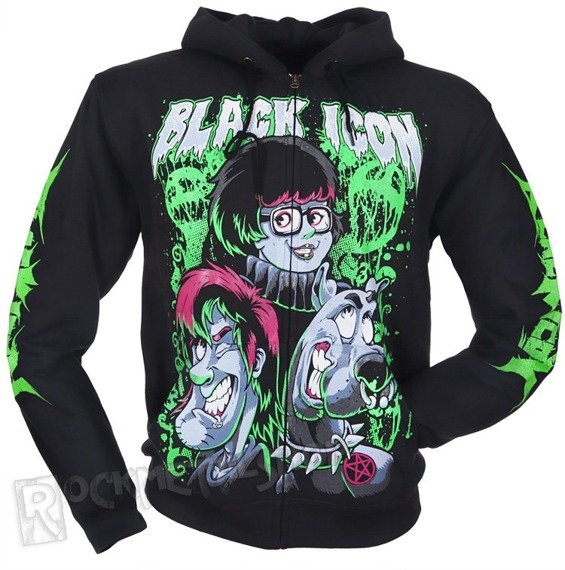 bluza BLACK ICON - SCOOBY czarna, rozpinana z kapturem (HZICON008BLK)