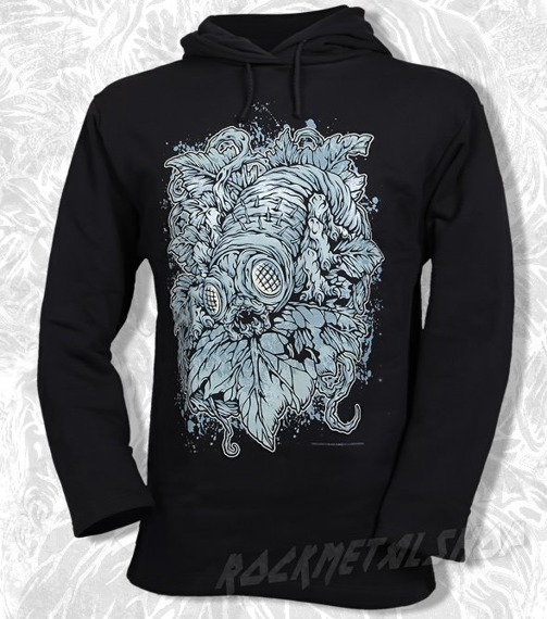bluza BLACK ICON - WORM czarna z kapturem (BICON031)