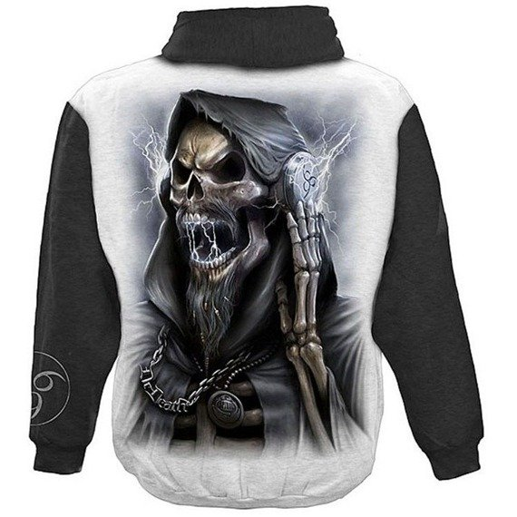 bluza DEAD BEATS czarno-biała, z kapturem
