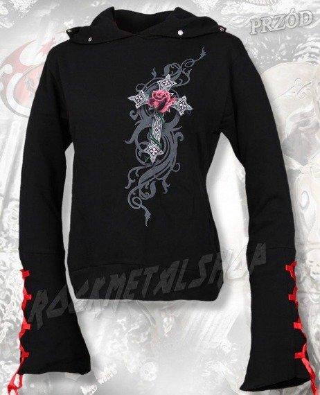 bluza damska ANGEL ROSE czarna, z kapturem
