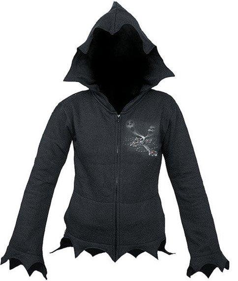 bluza damska EXORCISED czarna, rozpinana z kapturem